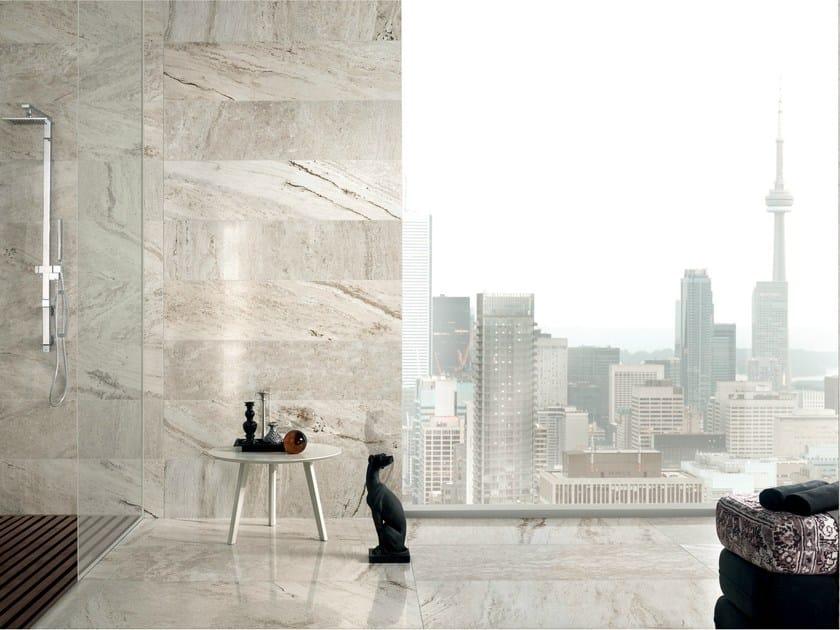 Porcelain stoneware wall/floor tiles with travertine effect TRAVERT GRIGIO by ASTOR CERAMICHE