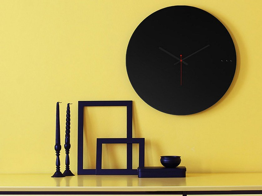 Wall-mounted wooden clock TRE BLACK by xline