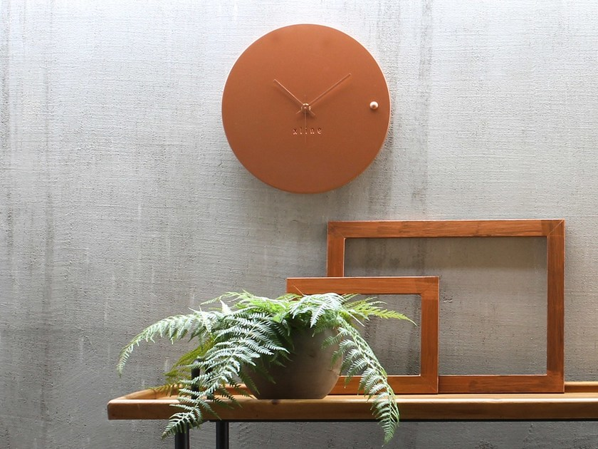 Wall-mounted wooden clock TRE COPPER SMALL by xline