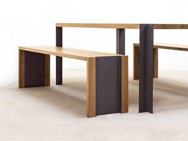 Steel and wood bench TREK | Bench - MALHERBE EDITION