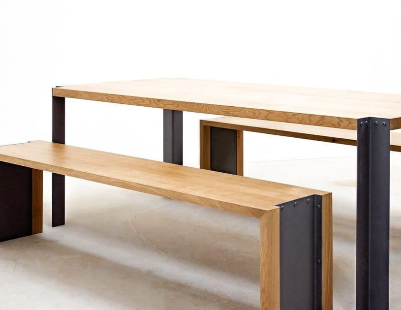 Rectangular steel and wood table TREK | Table - MALHERBE EDITION