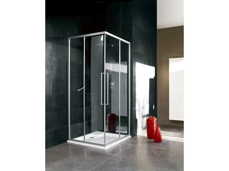 Corner glass shower cabin with sliding door TRENDY - 1 - INDA®