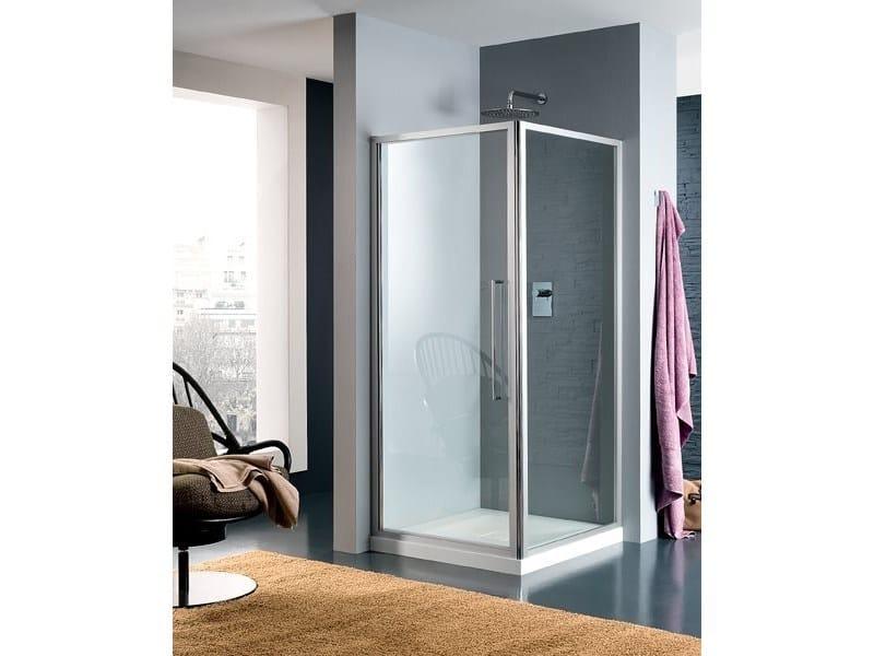 Corner glass shower cabin with hinged door TRENDY - 3 - INDA®