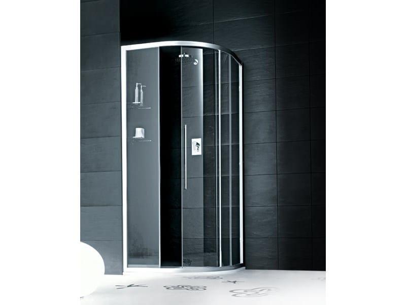 Box doccia semicircolare in vetro con porta scorrevole TRENDY - 8 - INDA®