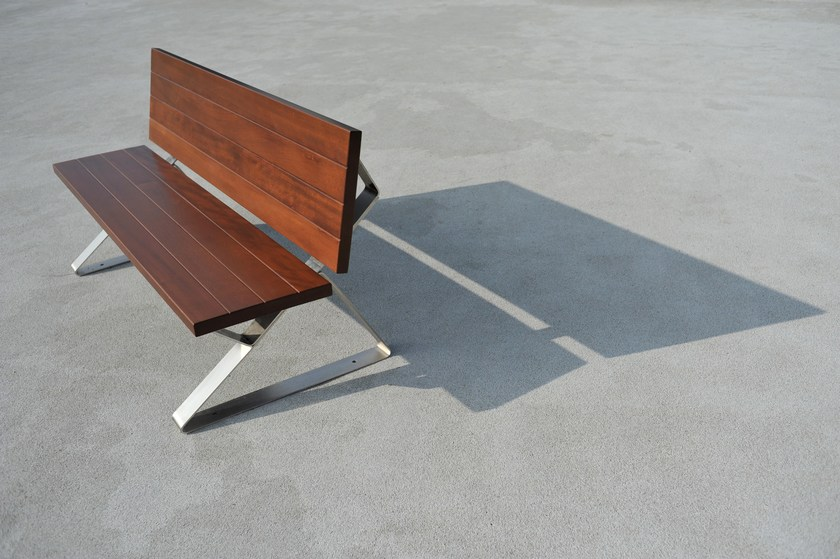 Steel and wood Bench TRIA by LAB23 Gibillero Design