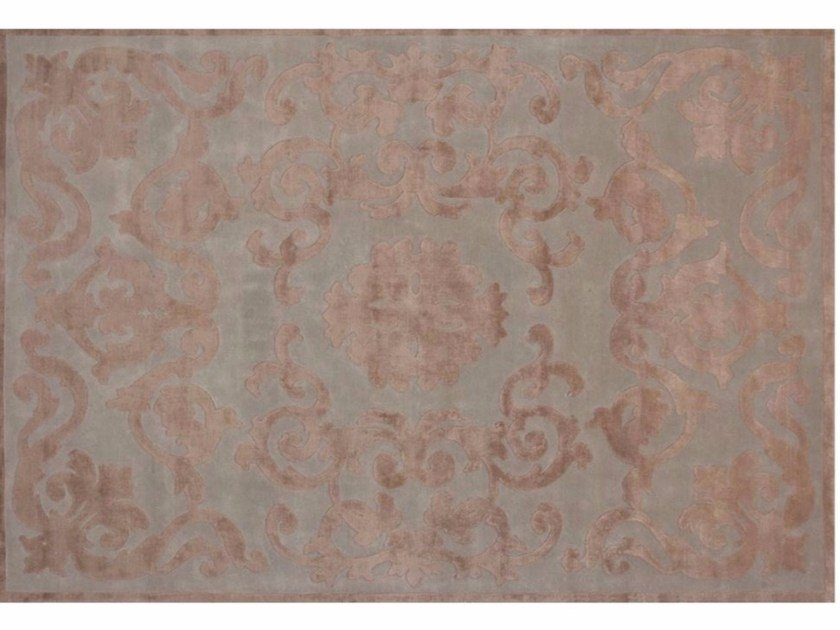 Patterned handmade rectangular rug TRIANON AQUA by EDITION BOUGAINVILLE