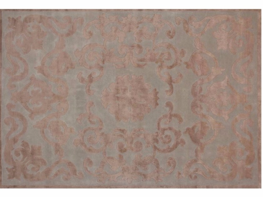 Patterned handmade rectangular rug TRIANON AQUA - EDITION BOUGAINVILLE