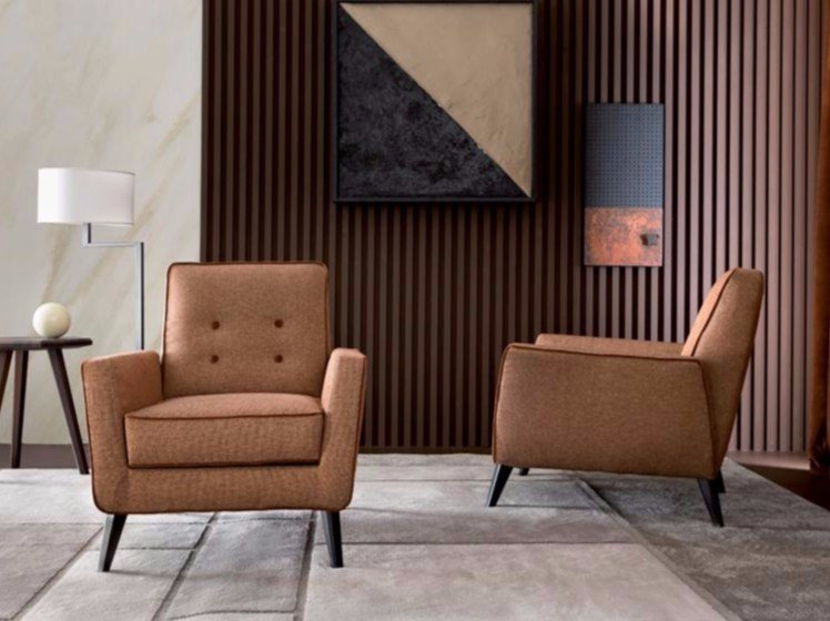Fabric armchair with removable cover with armrests TRIBECA - Casamilano