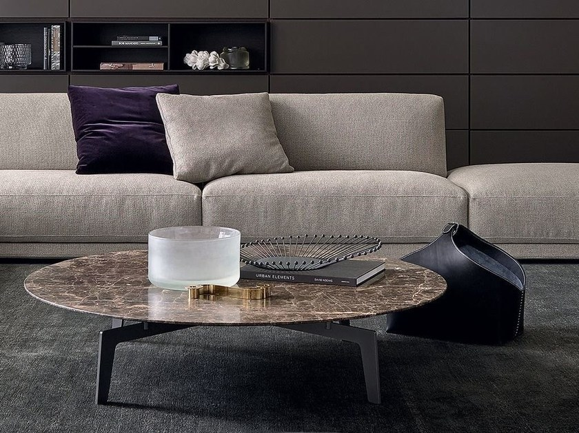 Low round oak coffee table TRIBECA | Low coffee table by poliform