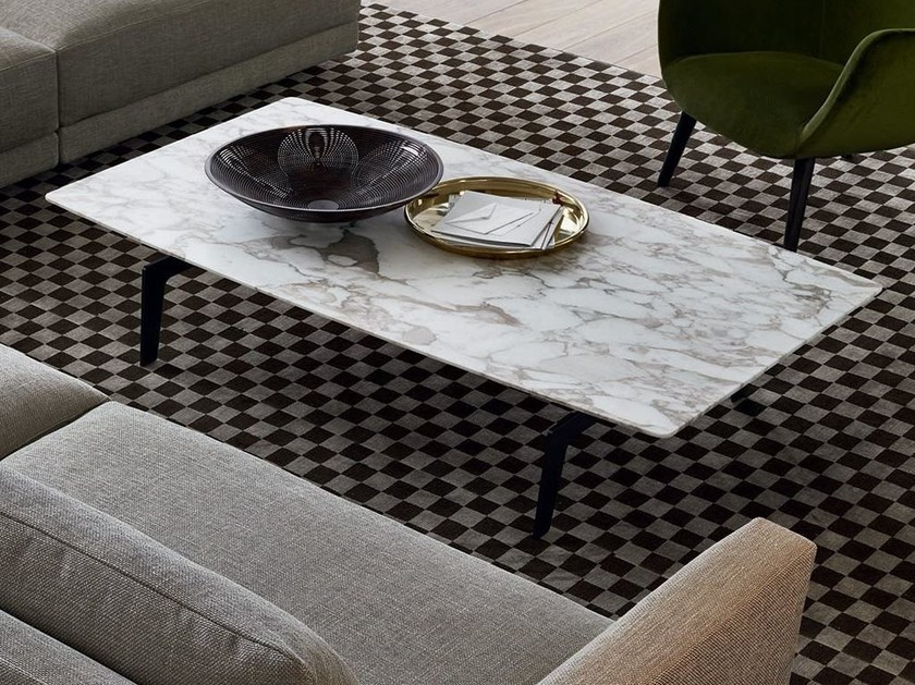 Contemporary style low rectangular marble coffee table for living room TRIBECA | Rectangular coffee table - Poliform