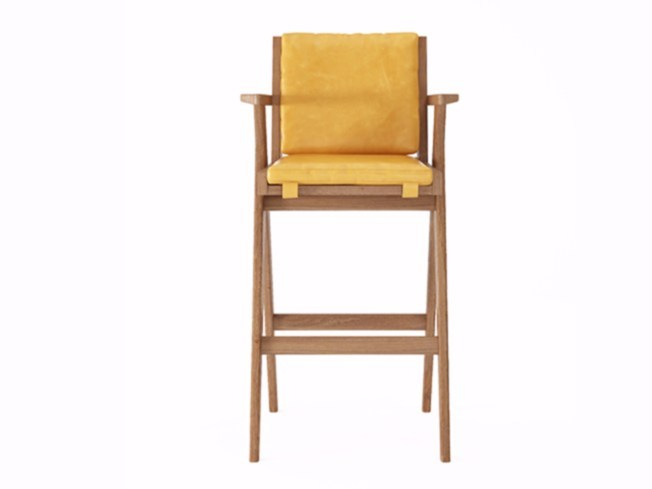 Upholstered leather counter stool with armrests TRIBUTE TB11-T - KARPENTER