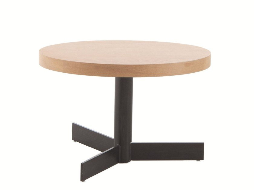 Low round steel and wood coffee table TRIM by EXPORMIM