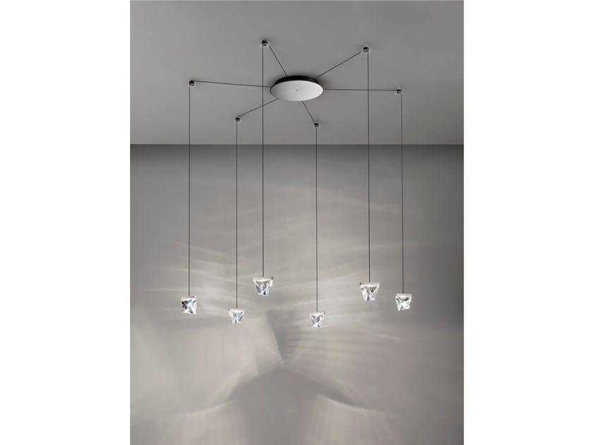LED crystal pendant lamp TRIPLA 6 SPOTS - Fabbian