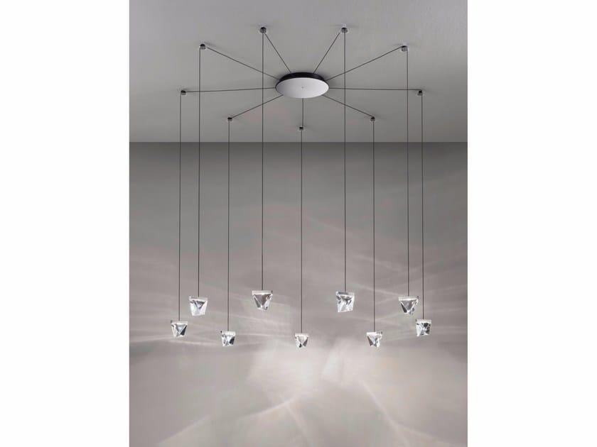 LED crystal pendant lamp TRIPLA 9 SPOTS - Fabbian