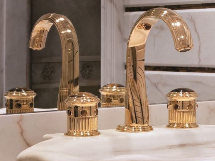 3 hole gold colour washbasin mixer TROCADERO OEIL DE TIGRE | Washbasin mixer - INTERCONTACT