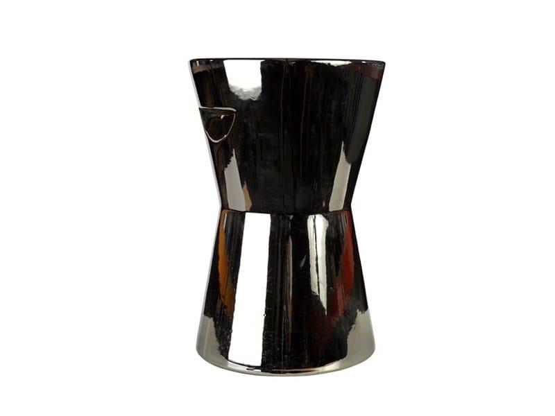 Ceramic stool / coffee table TRUMPET CERAMIC SILVER - Pols Potten