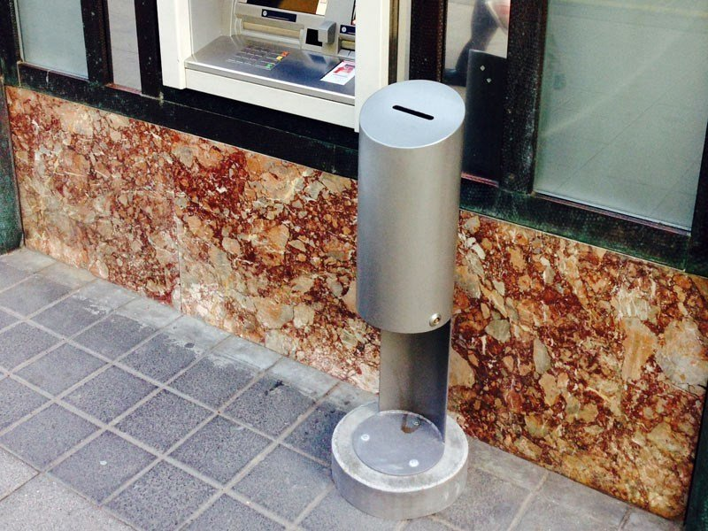 Outdoor stainless steel waste bin with lid TUBO B by Tubo / ZZ Concept