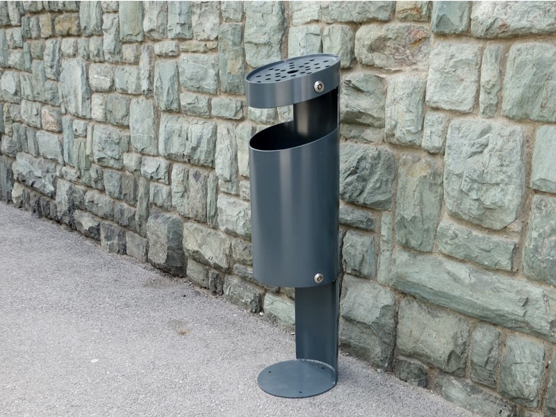 In-ground outdoor stainless steel waste bin with ashtray TUBO PK by Tubo / ZZ Concept