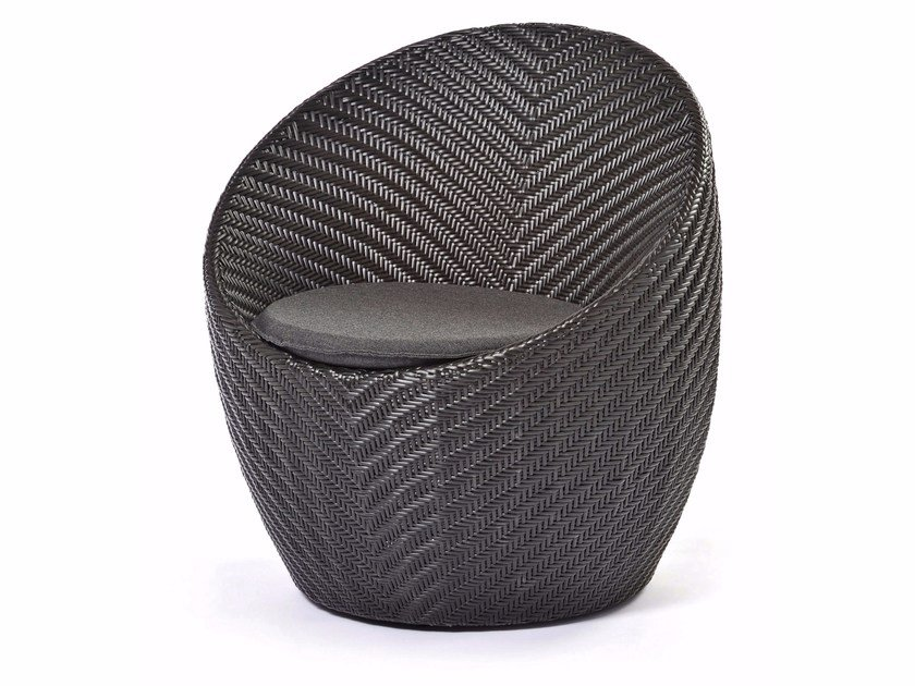 Swivel armchair with synthetic fiber weaving TULIP | Easy chair - Varaschin