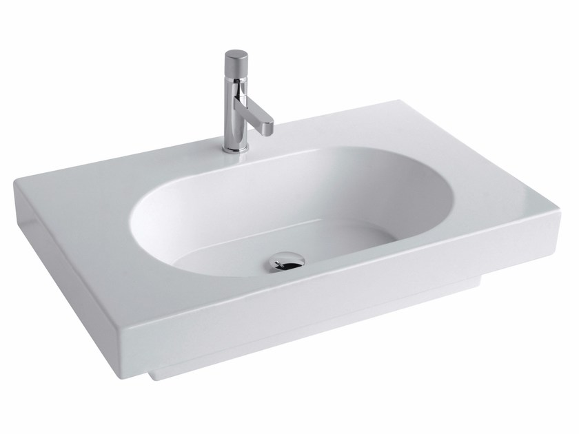 Rectangular wall-mounted washbasin TUTTO EVO | Rectangular washbasin by Olympia Ceramica
