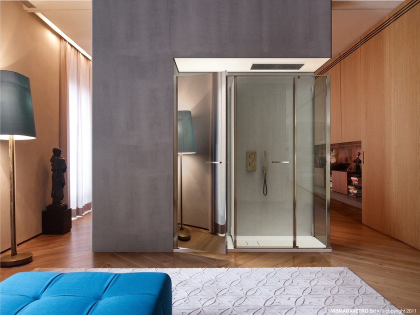 Shower cabin with storage container TWIN T33 by VISMARAVETRO