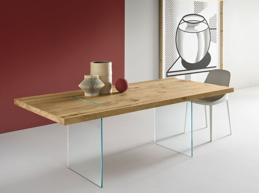Rectangular table TAVOLANTE AGED OAK - T.D. Tonelli Design