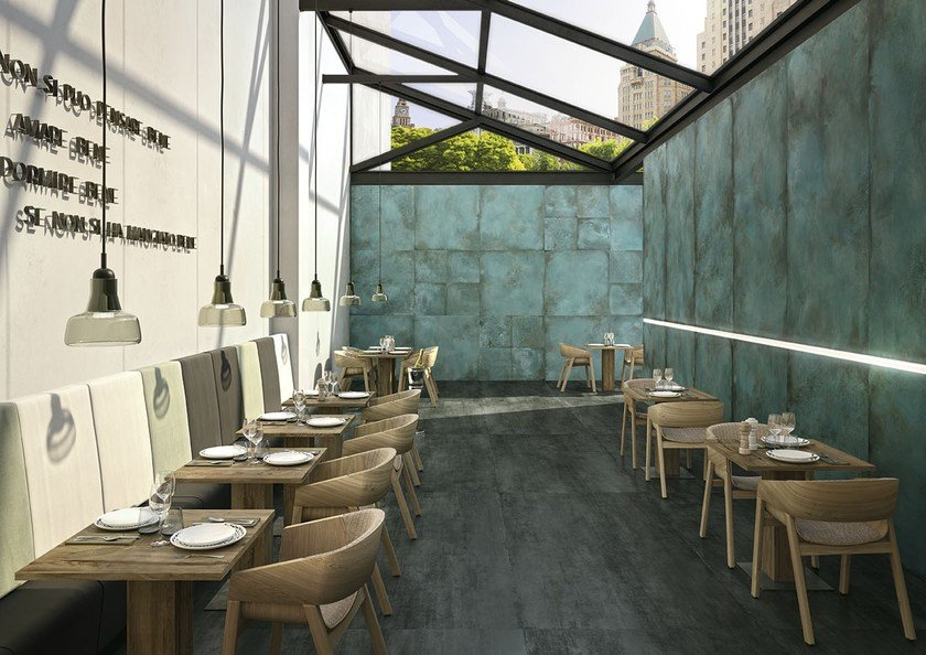 Porcelain stoneware wall/floor tiles with metal effect TRACE MINT PROJECT EVOLUTION by Ceramiche Caesar