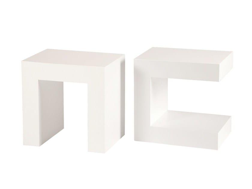 Stool / coffee table U - Branco sobre Branco