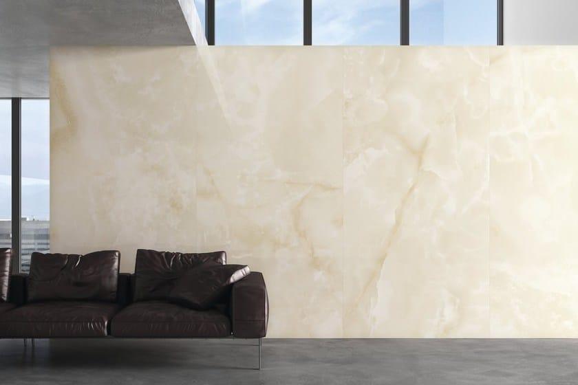 Indoor/outdoor porcelain stoneware wall/floor tiles with marble effect ULTRA ONICI │ BEIGE by ARIOSTEA