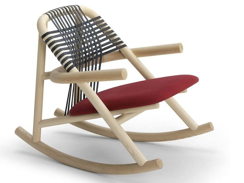 Contemporary style rocking upholstered iroko garden chair UNAM OUT 19/C | Rocking chair - Very Wood