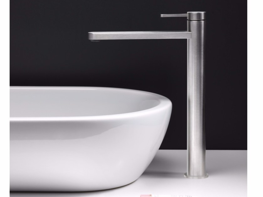 Countertop single handle stainless steel washbasin mixer UNI/X | Countertop washbasin mixer - CRISTINA Rubinetterie