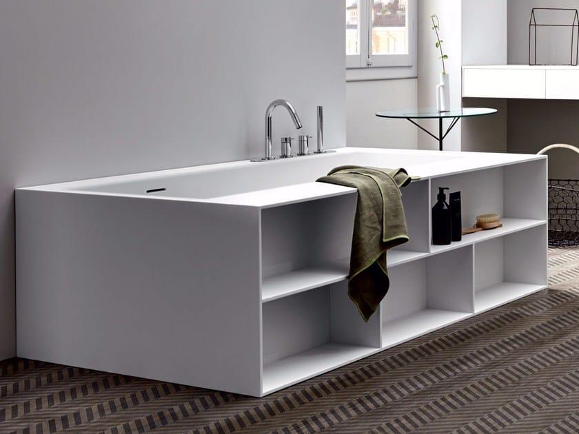 Rectangular Corian® bathtub UNICO LIBRO by Rexa Design