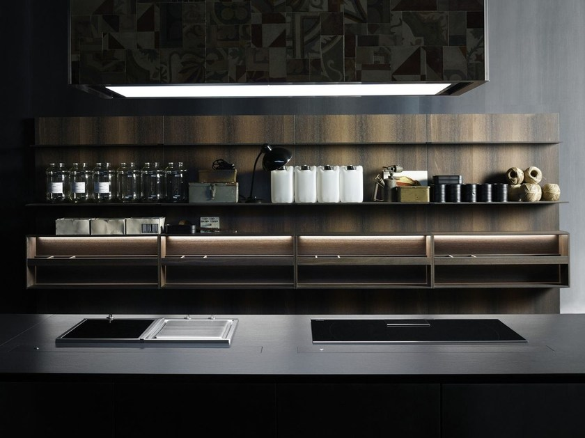 Sistema boiserie per cucina in legno, Paperstone® o Corian® UPPER UNITS | Schienale per cucina in legno - Boffi
