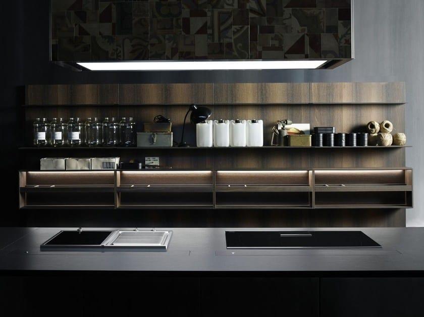 Fitted wooden Kitchen backsplash UPPER UNITS | Wooden Kitchen backsplash - Boffi