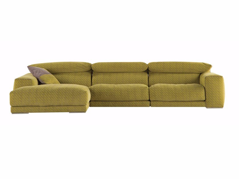 Fabric sofa with removable cover with chaise longue UPSIDE - ROCHE BOBOIS