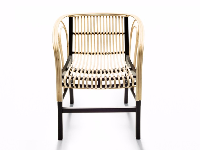 Woven wicker chair with armrests URAGANO - DE PADOVA