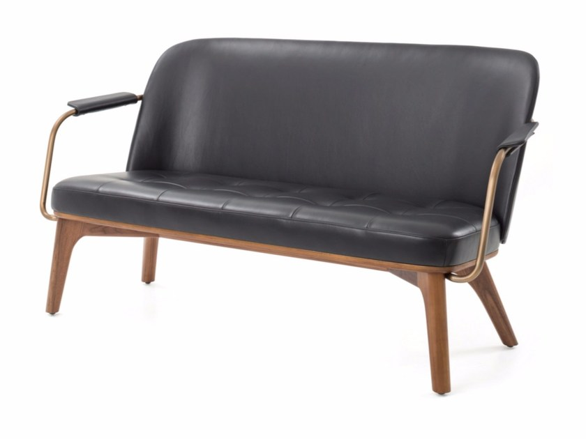 2 seater leather sofa UTILITY LOUNGE CHAIR TWO SEATER - STELLAR WORKS