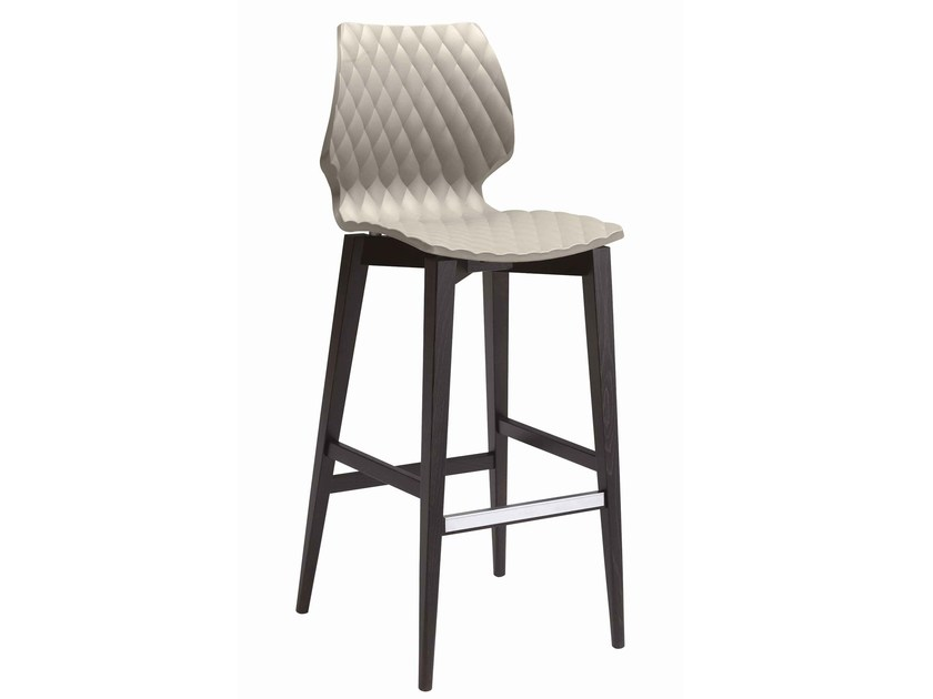 Wooden stool with footrest Uni 386 by Metalmobil