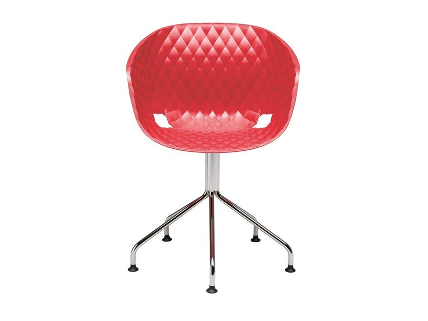 Swivel polypropylene easy chair with 5-spoke base Uni-Ka 597-5P - Metalmobil