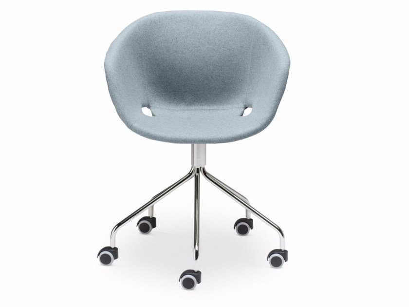 Swivel upholstered polypropylene easy chair with casters Uni-Ka 597M-5R - Metalmobil