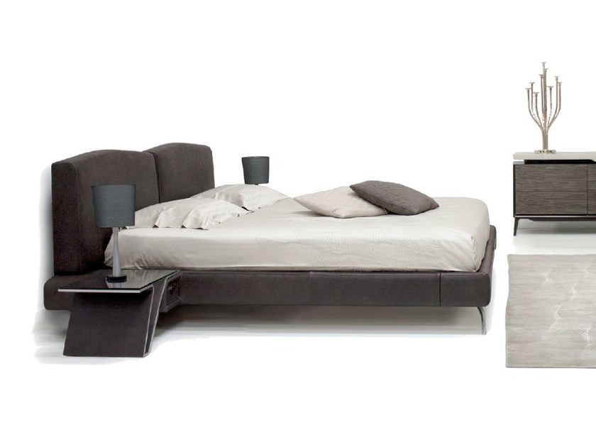 Leather double bed with upholstered headboard V073 | Bed - Aston Martin