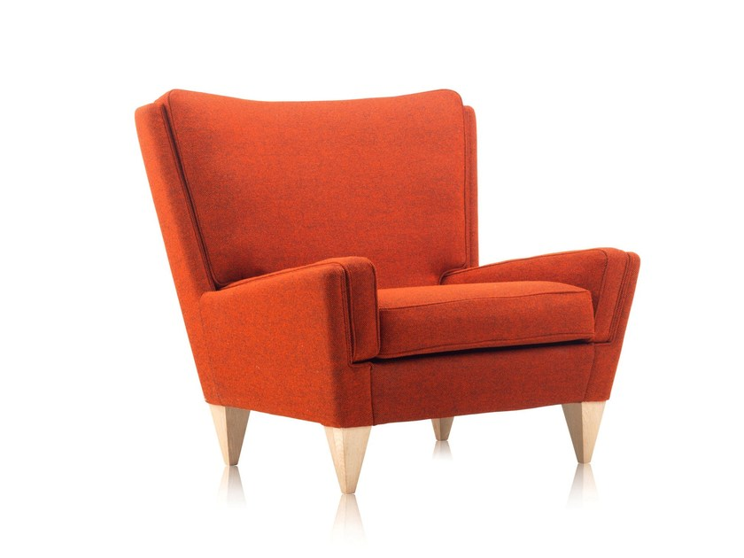 Upholstered fabric armchair with armrests V11   Fabric armchair by Stouby