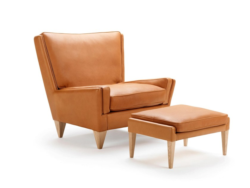 Upholstered leather armchair with armrests V11 | Leather armchair by Stouby