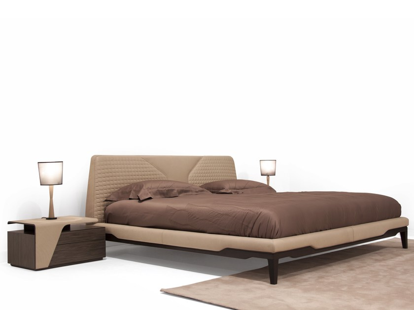 Leather double bed with upholstered headboard V147 | Bed - Aston Martin by Formitalia Group