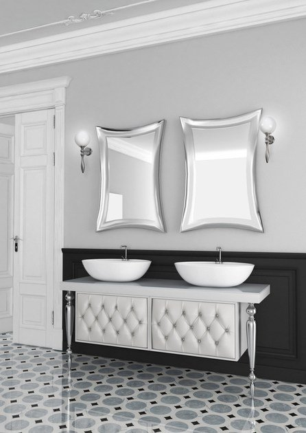 Double console sink with drawers with mirror VANITY CM07VA - LA BUSSOLA