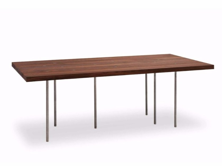 Rectangular stainless steel and wood table VARIABILE by Riva 1920