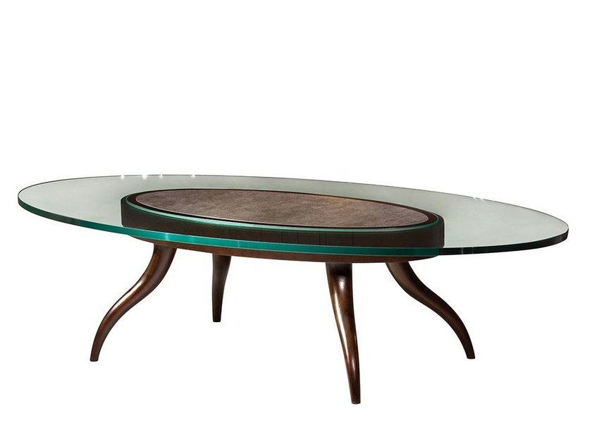 Oval glass coffee table VARIANT | Coffee table - Mobi
