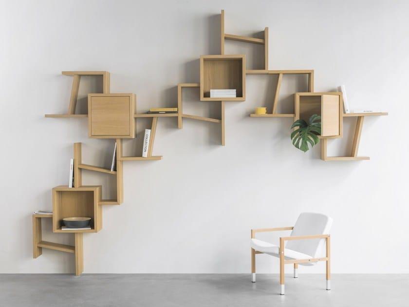 Libreria a parete componibile sospesa in legno VARIUS - ERA