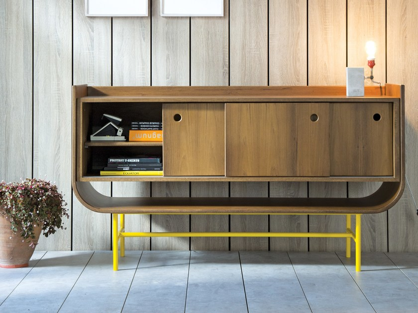 Wooden sideboard with sliding doors VAYK | Sideboard by Kann Design