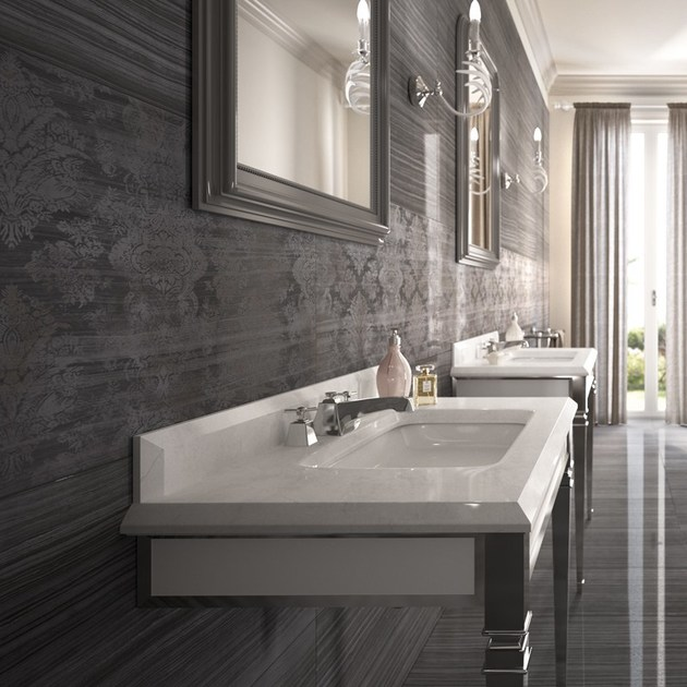 Wand und bodenbelag aus feinsteinzeug mit marmor effekt for Ceramica d imola